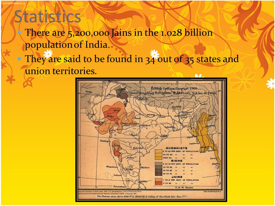 Statistics There are 5,200,000 Jains in the 1.028 billion population of India. They are said to be found in 34 out of 35 states and union territories.
