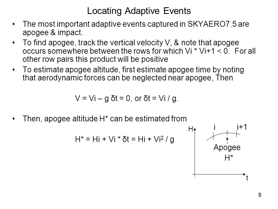 9 Locating Adaptive Events The most important adaptive events captured in SKYAERO7.5 are apogee & impact. To find apogee, track the vertical velocity
