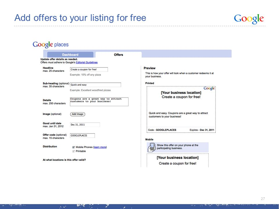 Add offers to your listing for free 27