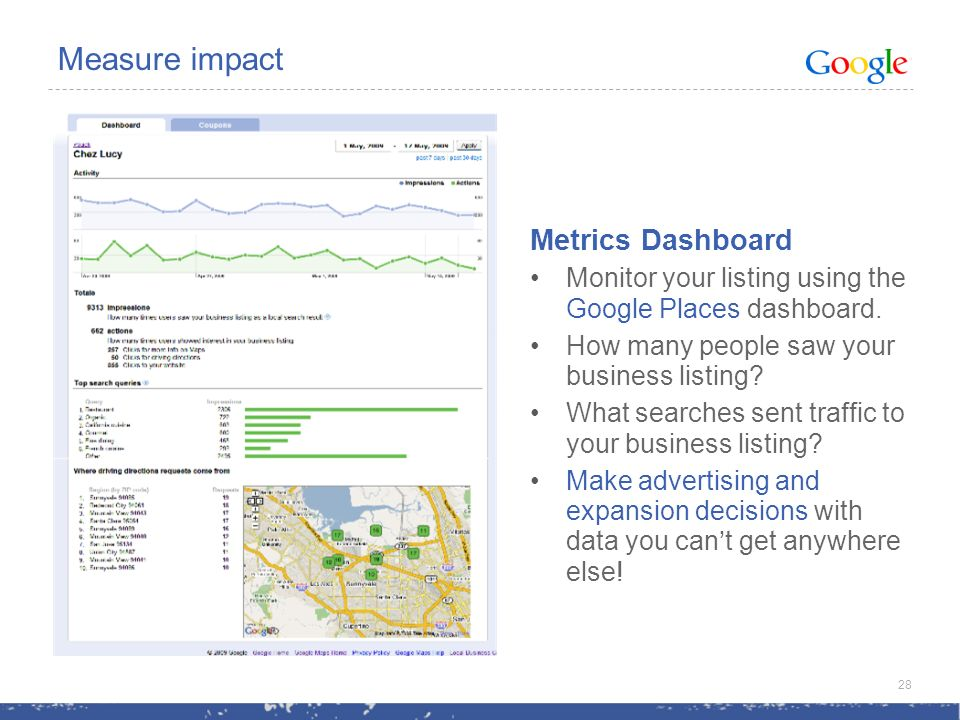 Measure impact Metrics Dashboard Monitor your listing using the Google Places dashboard.