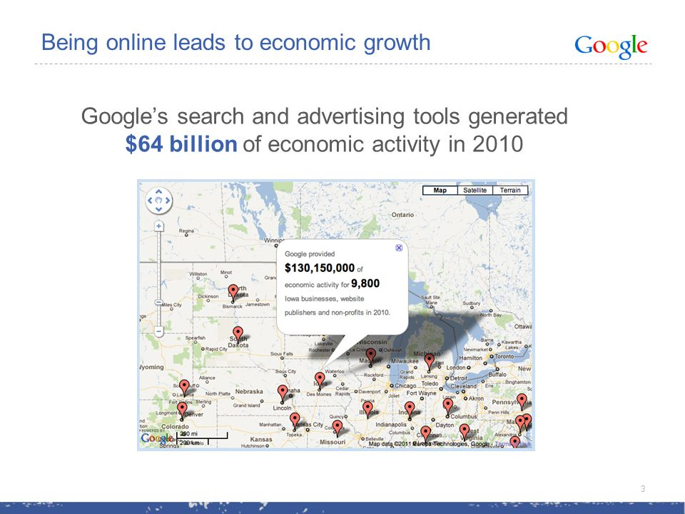 Googles search and advertising tools generated $64 billion of economic activity in 2010 Being online leads to economic growth 3