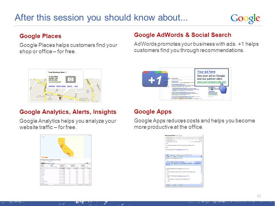 Google Places Google Places helps customers find your shop or office – for free.