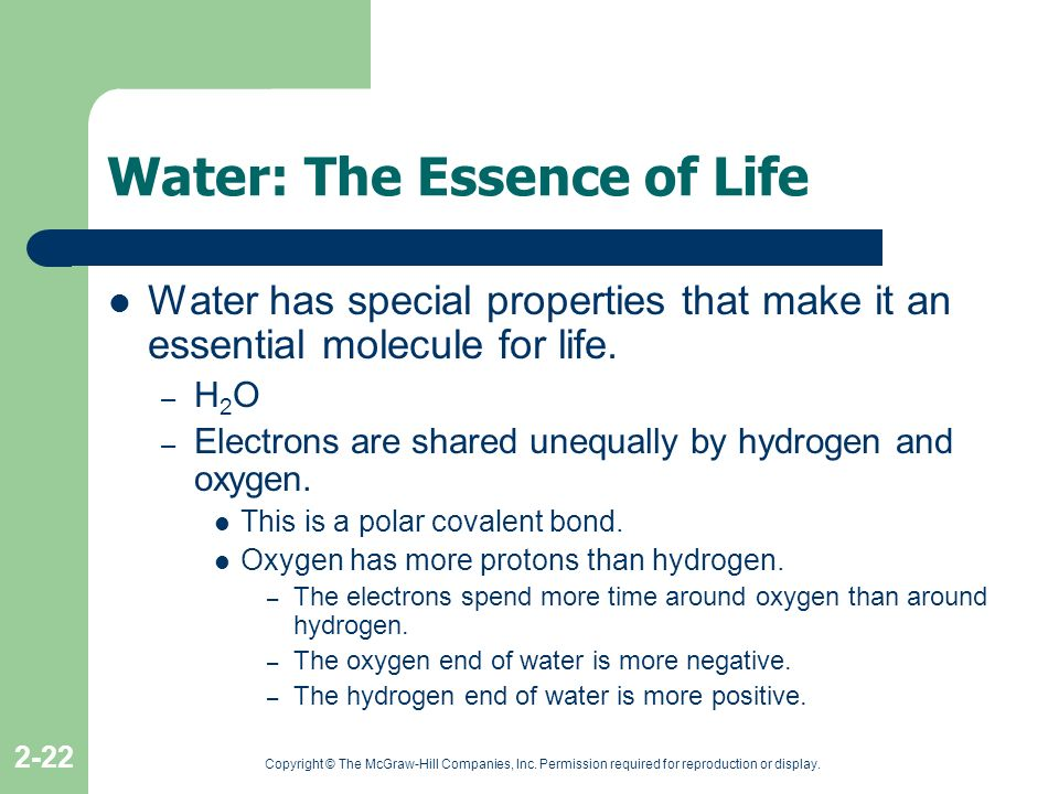 Copyright © The McGraw-Hill Companies, Inc. Permission required for reproduction or display. 2-22 Water: The Essence of Life Water has special propert