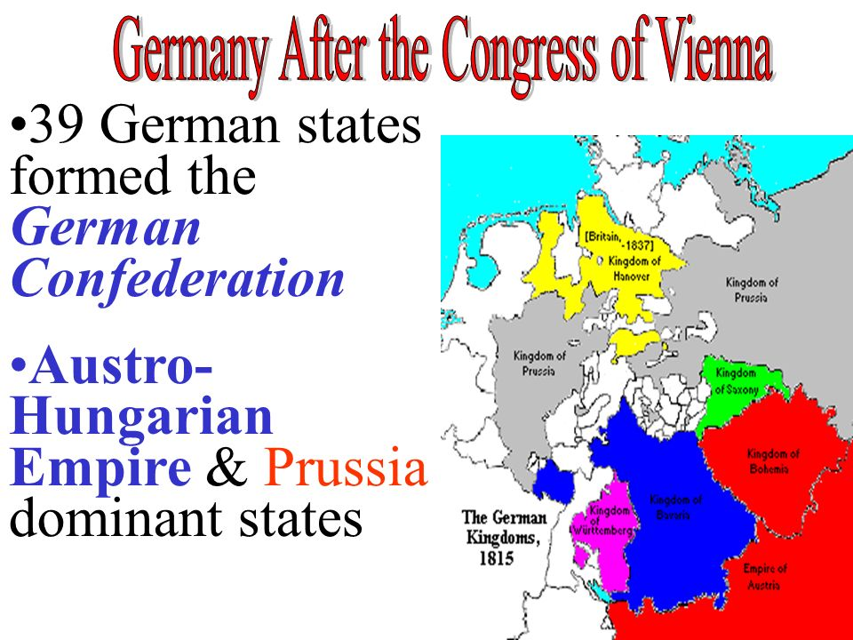 39 German states formed the German Confederation Austro- Hungarian Empire & Prussia dominant states