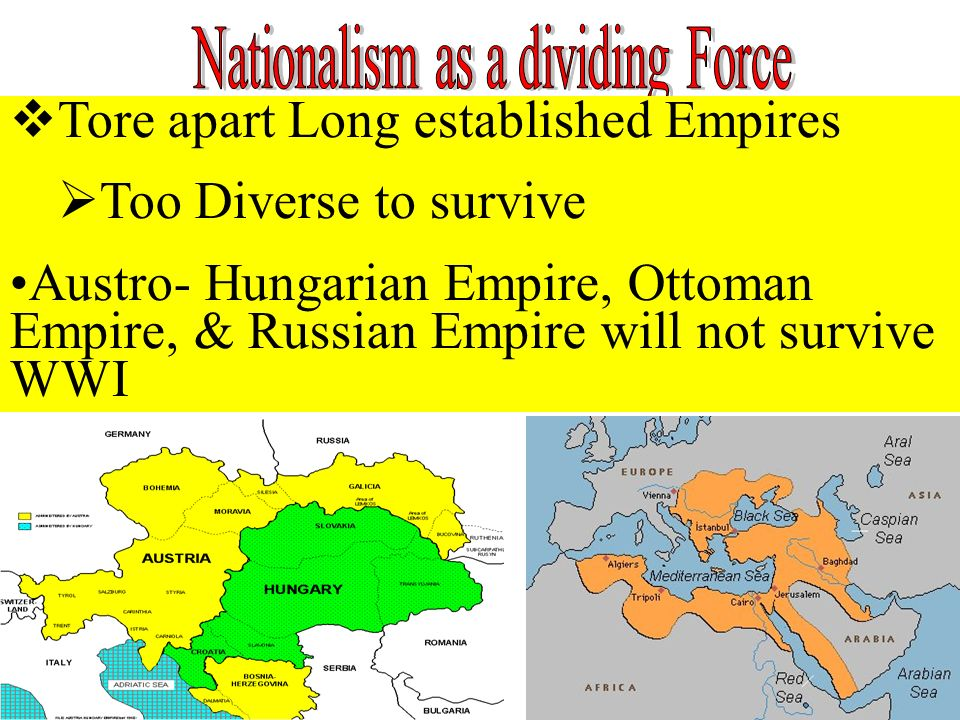 Tore apart Long established Empires Too Diverse to survive Austro- Hungarian Empire, Ottoman Empire, & Russian Empire will not survive WWI