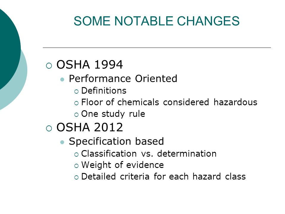 SOME NOTABLE CHANGES OSHA 1994 Performance Oriented Definitions Floor of chemicals considered hazardous One study rule OSHA 2012 Specification based C