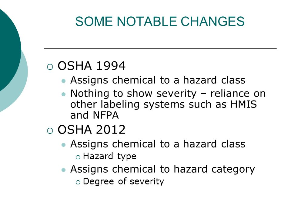 SOME NOTABLE CHANGES OSHA 1994 Assigns chemical to a hazard class Nothing to show severity – reliance on other labeling systems such as HMIS and NFPA