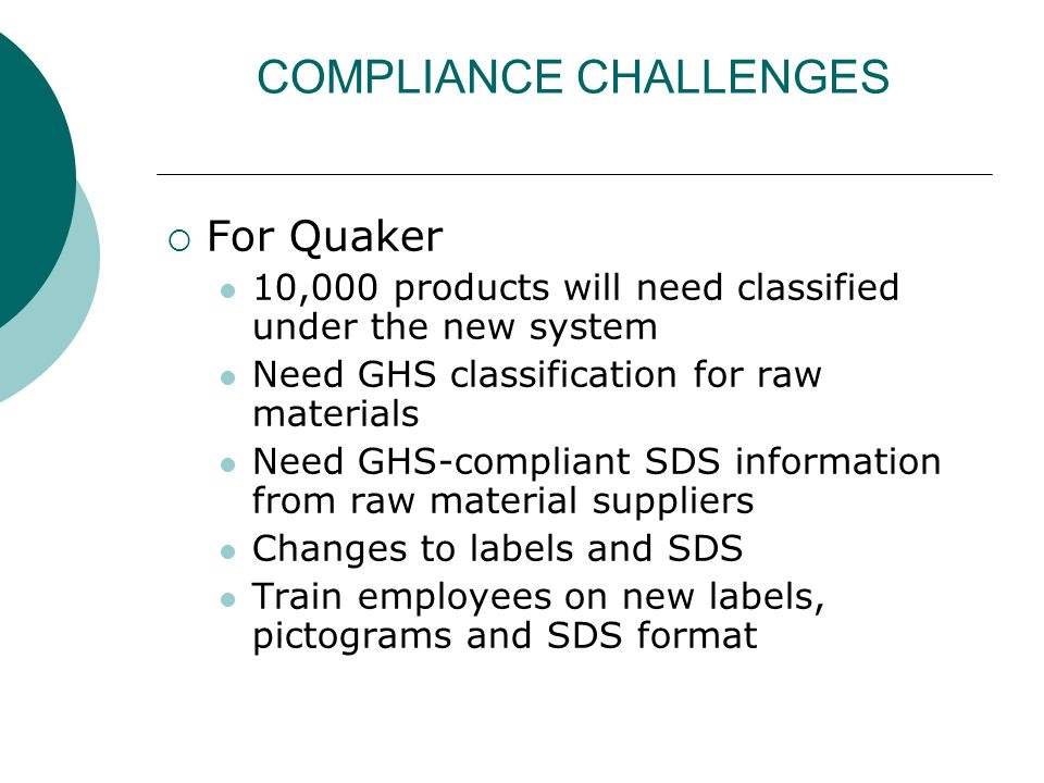 COMPLIANCE CHALLENGES For Quaker 10,000 products will need classified under the new system Need GHS classification for raw materials Need GHS-complian