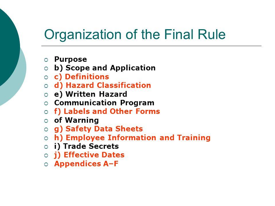 Organization of the Final Rule Purpose b) Scope and Application c) Definitions d) Hazard Classification e) Written Hazard Communication Program f) Lab