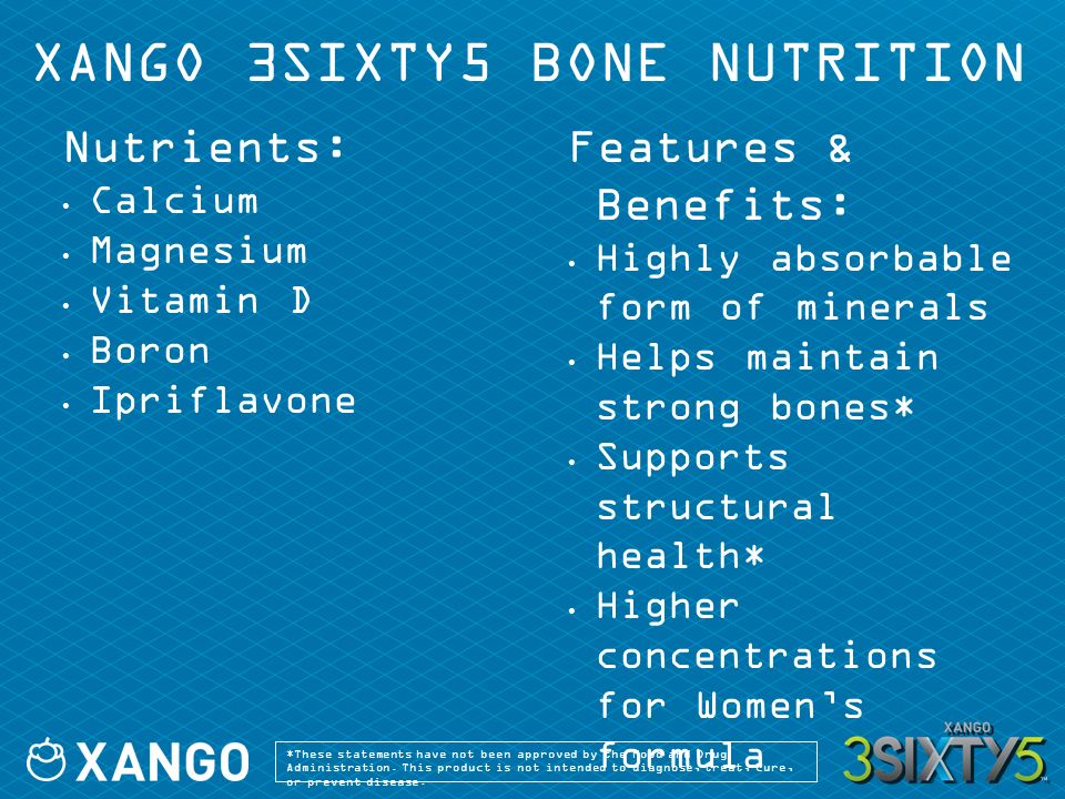 XANGO 3SIXTY5 BONE NUTRITION Nutrients: Calcium Magnesium Vitamin D Boron Ipriflavone Features & Benefits: Highly absorbable form of minerals Helps maintain strong bones* Supports structural health* Higher concentrations for Womens formula *These statements have not been approved by the Food and Drug Administration.