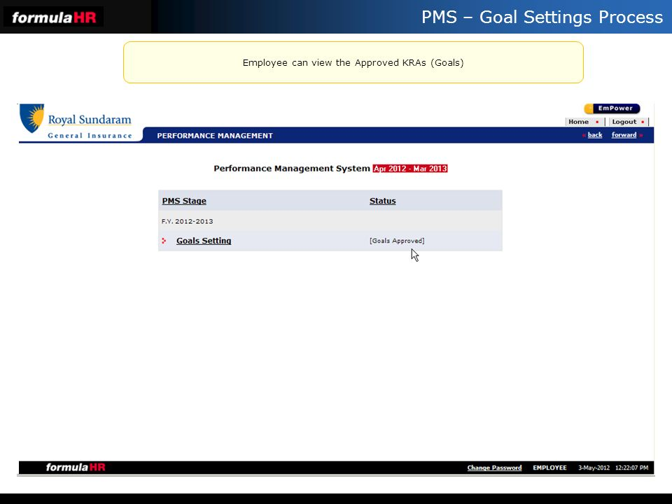 PMS – Goal Settings Process Employee can view the Approved KRAs (Goals)
