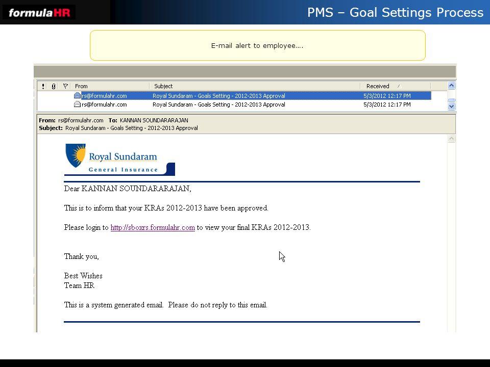 PMS – Goal Settings Process E-mail alert to employee….