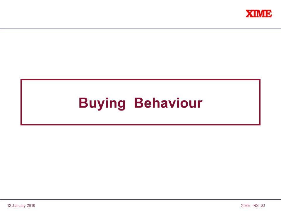 XIME –RS–0312-January-2010 Buying Behaviour