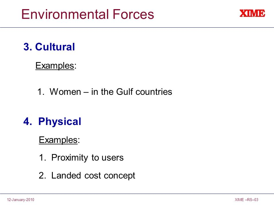 XIME –RS–0312-January-2010 Environmental Forces 3. Cultural Examples: 1. Women – in the Gulf countries 4. Physical Examples: 1. Proximity to users 2.