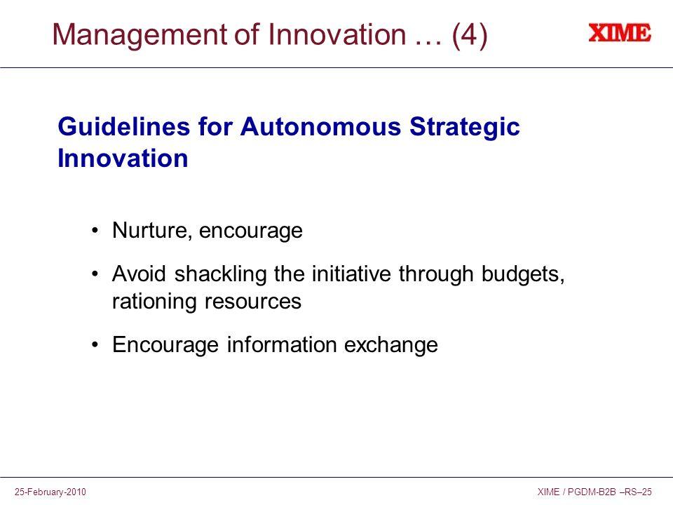 XIME / PGDM-B2B –RS–2525-February-2010 Management of Innovation … (4) Guidelines for Autonomous Strategic Innovation Nurture, encourage Avoid shacklin