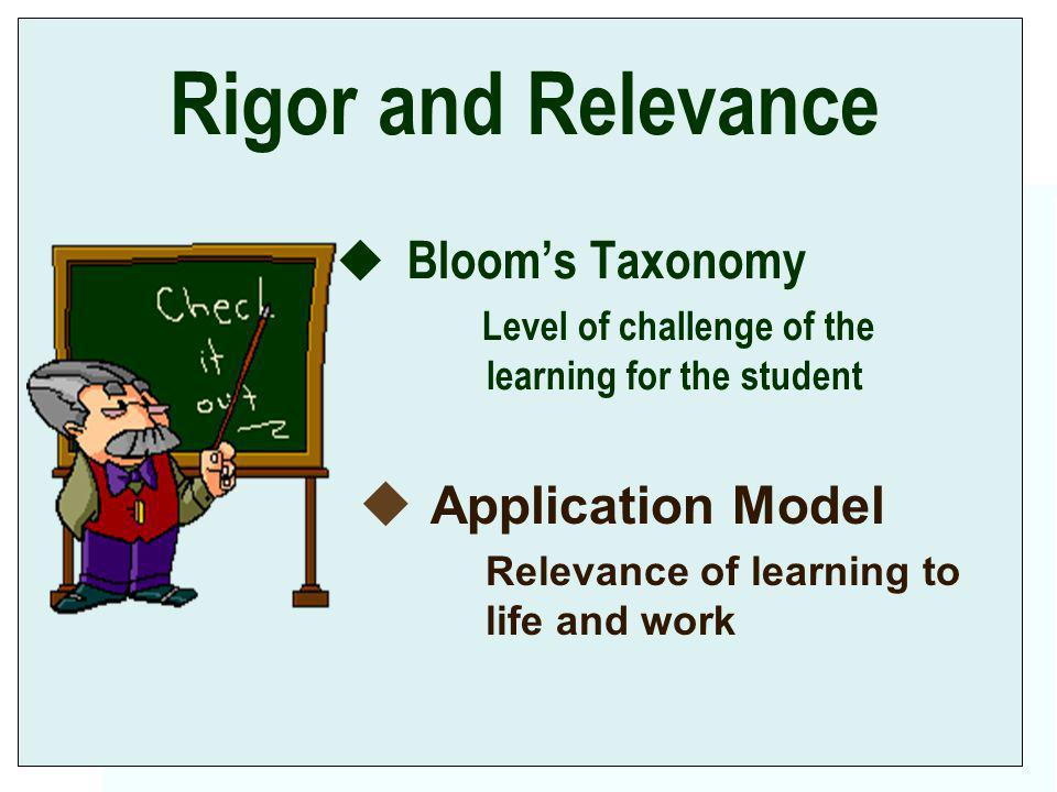 Rigor and Relevance Blooms Taxonomy Level of challenge of the learning for the student u Application Model Relevance of learning to life and work