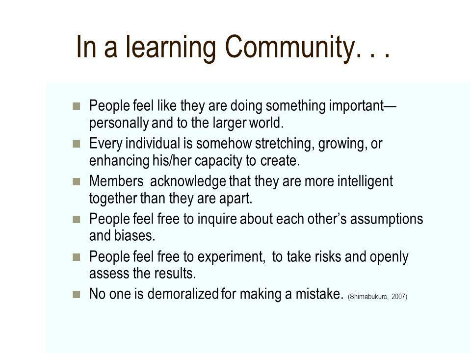 In a learning Community... People feel like they are doing something important personally and to the larger world. Every individual is somehow stretch