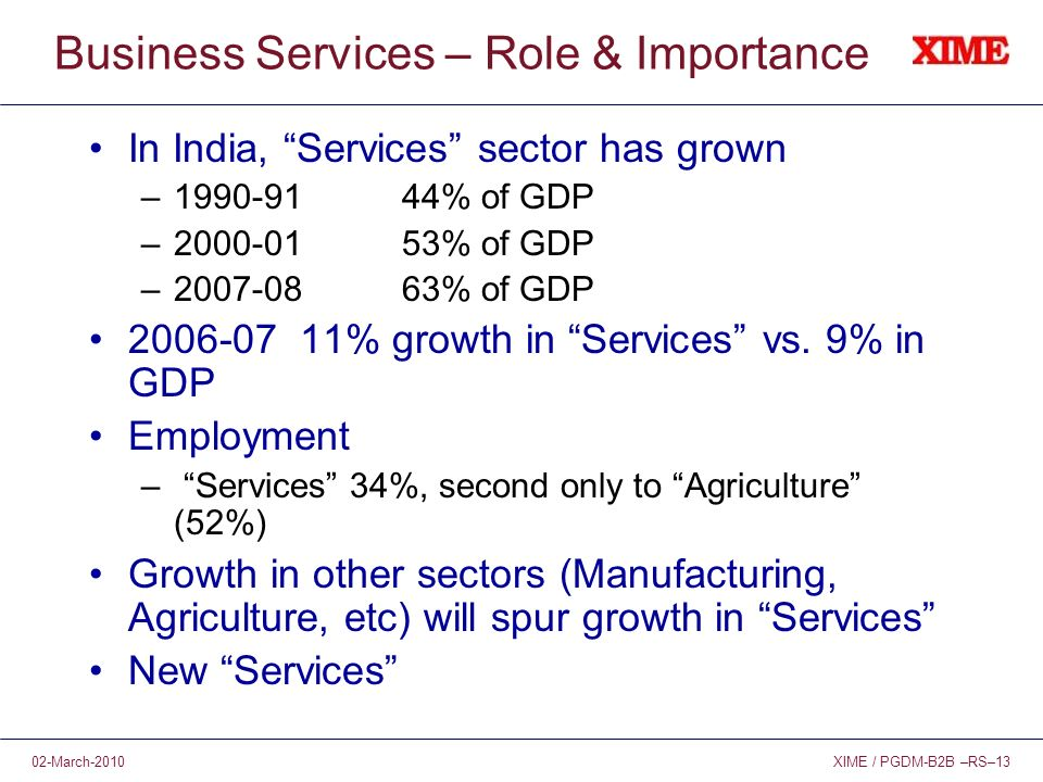 XIME / PGDM-B2B –RS–1302-March-2010 Business Services – Role & Importance In India, Services sector has grown – % of GDP – % of GDP – % of GDP % growth in Services vs.