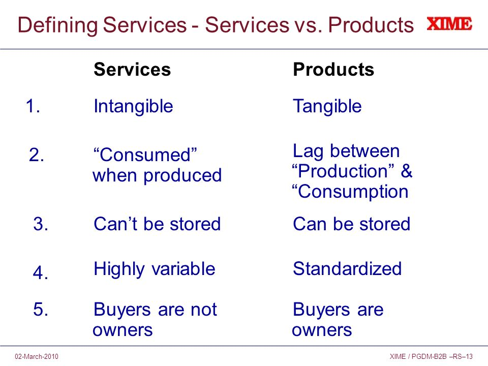 XIME / PGDM-B2B –RS–1302-March-2010 Defining Services - Services vs.