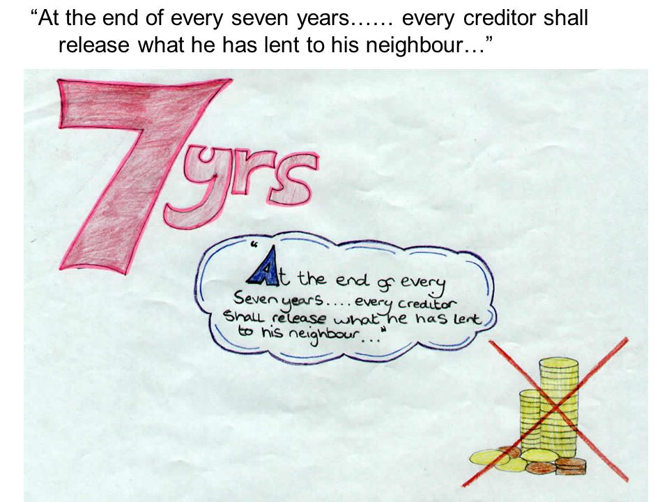 At the end of every seven years…… every creditor shall release what he has lent to his neighbour…