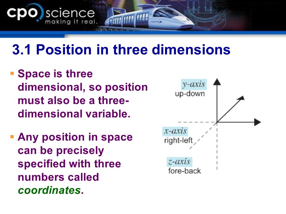 3.1 Position in three dimensions Space is three dimensional, so position must also be a three- dimensional variable. Any position in space can be prec