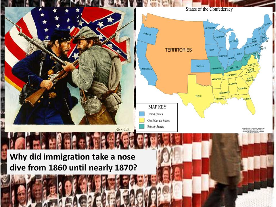 Why did immigration take a nose dive from 1860 until nearly 1870