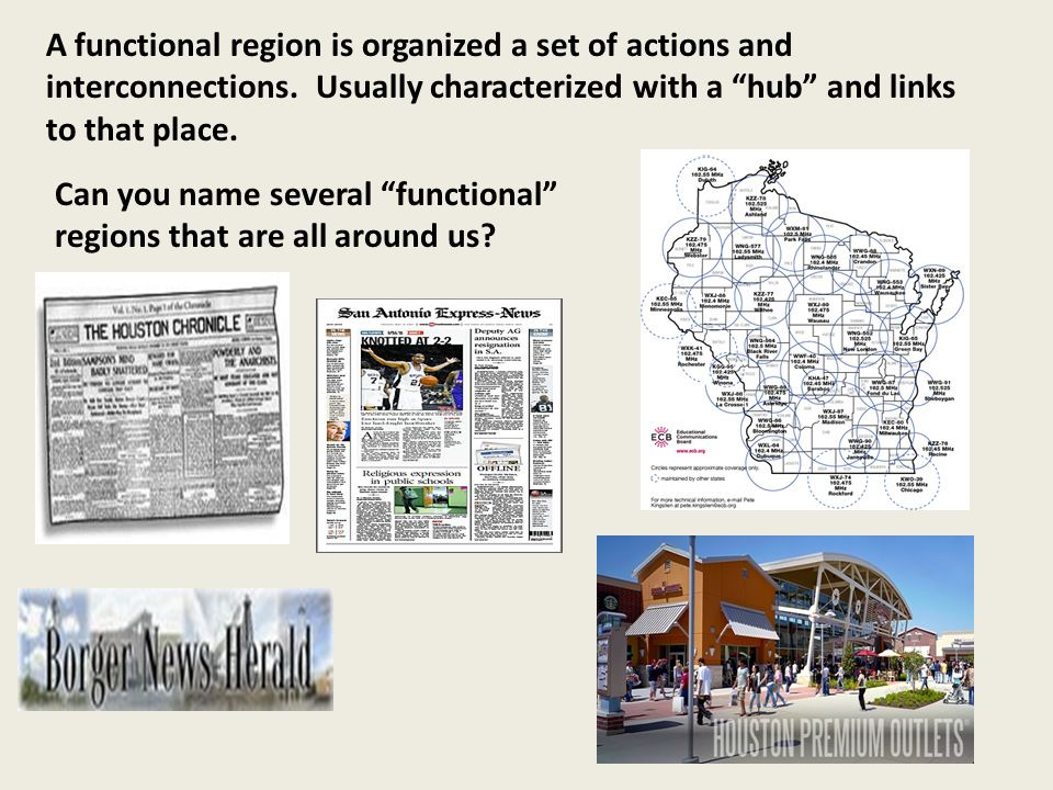 A functional region is organized a set of actions and interconnections.