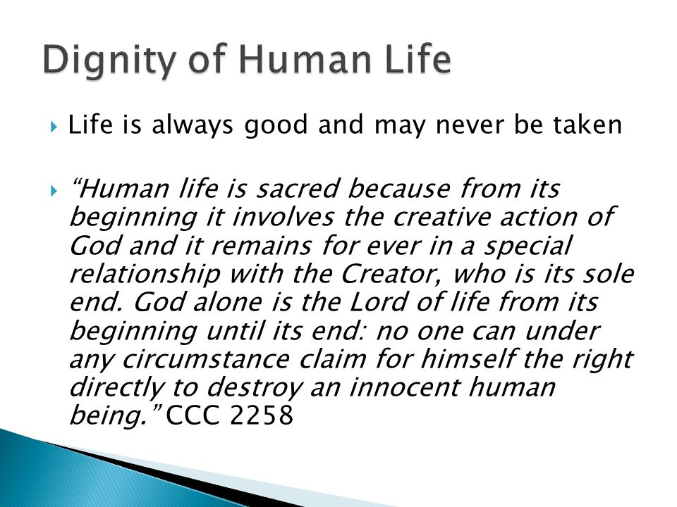 Life is always good and may never be taken Human life is sacred because from its beginning it involves the creative action of God and it remains for ever in a special relationship with the Creator, who is its sole end.