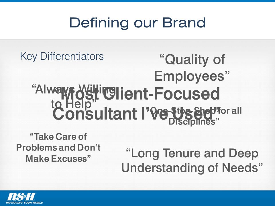 Defining our Brand Key Differentiators Quality of Employees Always Willing to Help One-Stop-Shop for all Disciplines Long Tenure and Deep Understandin