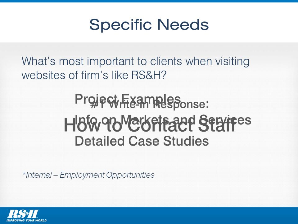 Specific Needs Whats most important to clients when visiting websites of firms like RS&H? *Internal – Employment Opportunities Project Examples Info o
