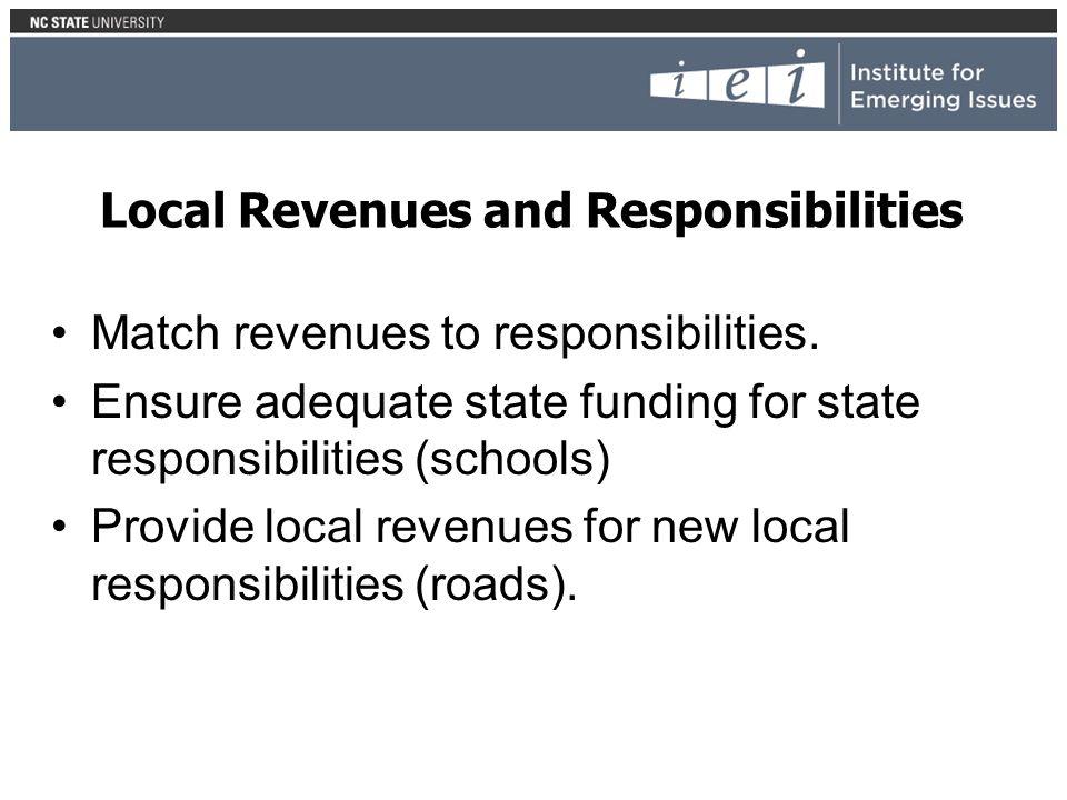 Local Revenues and Responsibilities Match revenues to responsibilities. Ensure adequate state funding for state responsibilities (schools) Provide loc