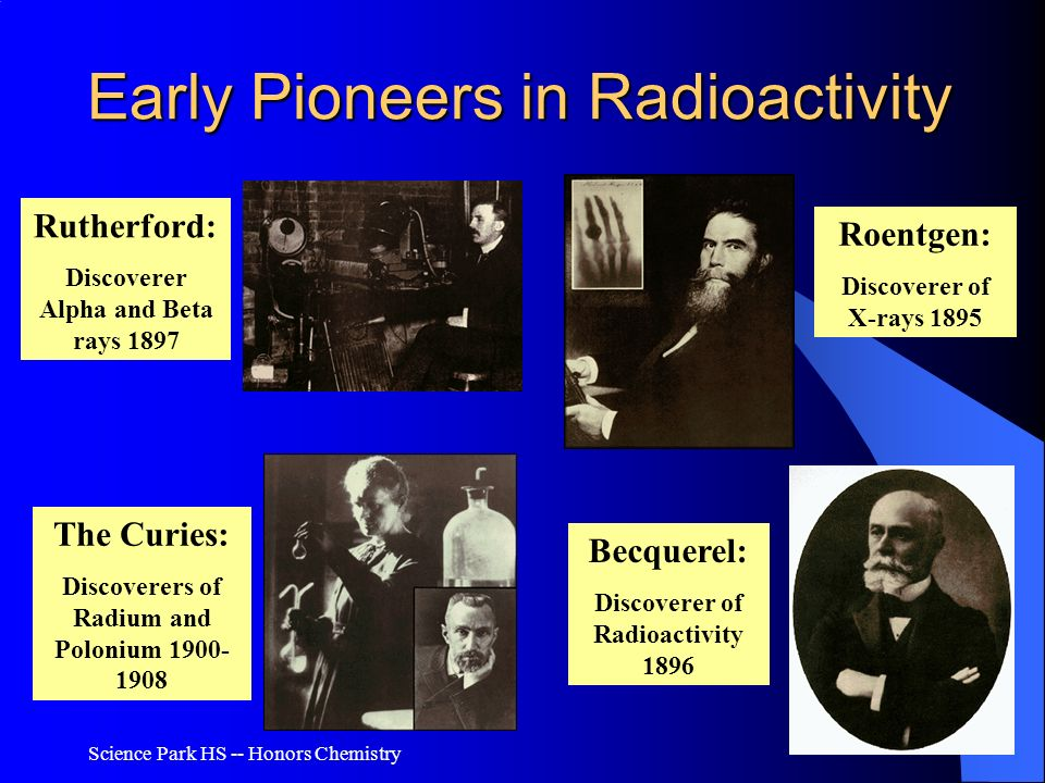 Science Park HS -- Honors Chemistry Early Pioneers in Radioactivity Roentgen: Discoverer of X-rays 1895 Becquerel: Discoverer of Radioactivity 1896 Th