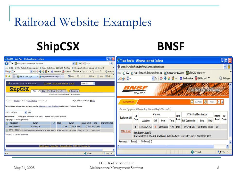 May 21, 2008 DTE Rail Services, Inc Maintenance Management Seminar 8 Railroad Website Examples ShipCSXBNSF