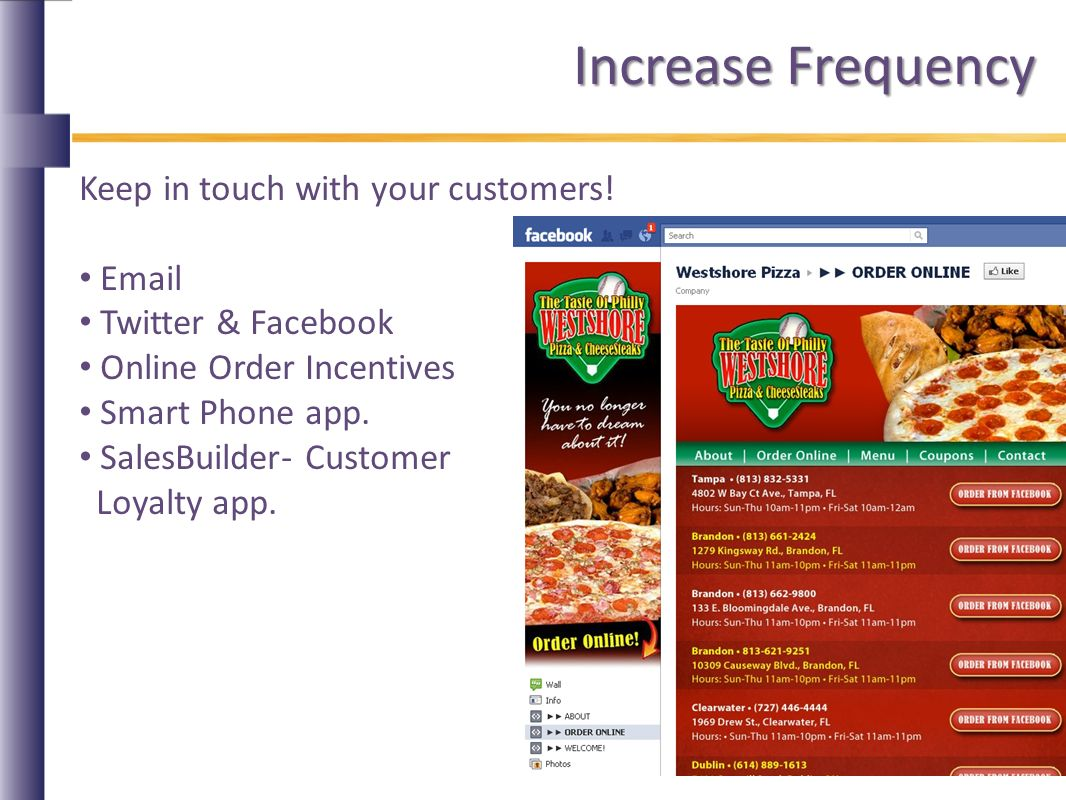 Increase Frequency Keep in touch with your customers.