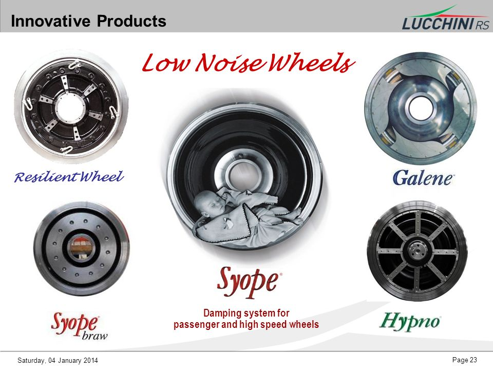 Saturday, 04 January 2014 Page 23 Innovative Products Low Noise Wheels Damping system for passenger and high speed wheels Resilient Wheel