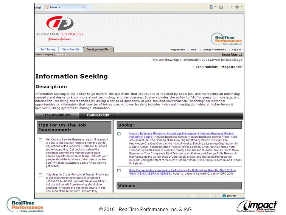 30 © 2010. RealTime Performance, Inc. & IAG