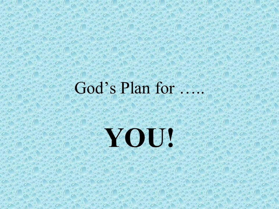 Gods Plan for ….. YOU!