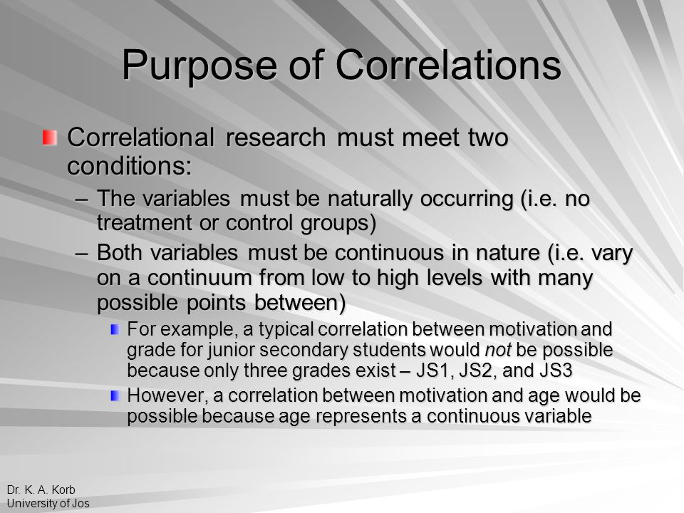 Purpose of Correlations Correlational research must meet two conditions: –The variables must be naturally occurring (i.e. no treatment or control grou
