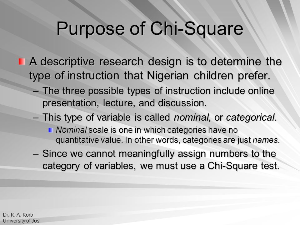 Purpose of Chi-Square The purpose of conducting a Chi-Square analysis is to determine whether frequency counts are equivalently distributed.