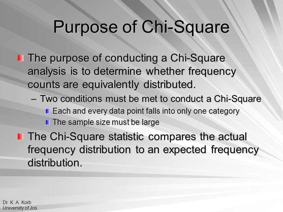 Purpose of Chi-Square The purpose of conducting a Chi-Square analysis is to determine whether frequency counts are equivalently distributed. –Two cond