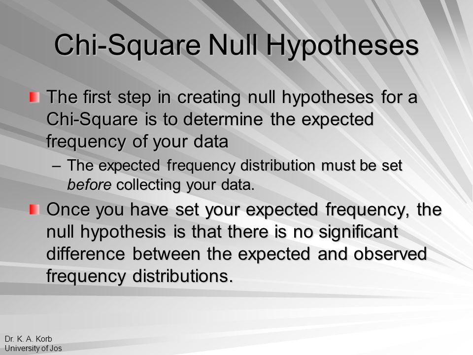 Chi-Square Null Hypotheses Expected Frequency Distribution for Students Instructional Preference Type of Instruction Frequency Online Presentation 50 Lecture50 Discussion50 There will be 150 students in the sample.