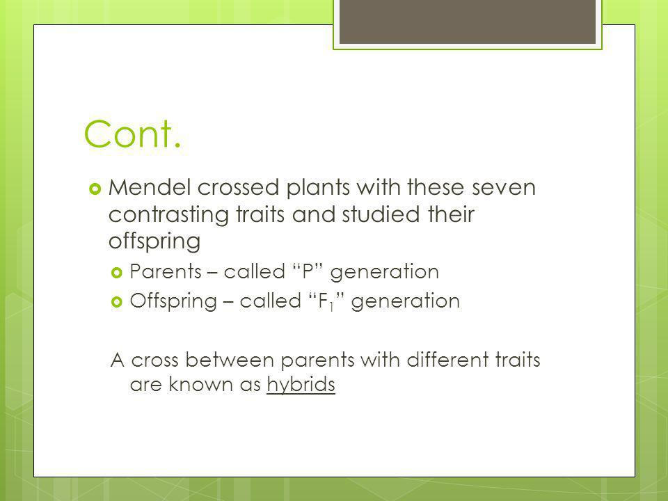 Cont. Mendel crossed plants with these seven contrasting traits and studied their offspring Parents – called P generation Offspring – called F 1 gener