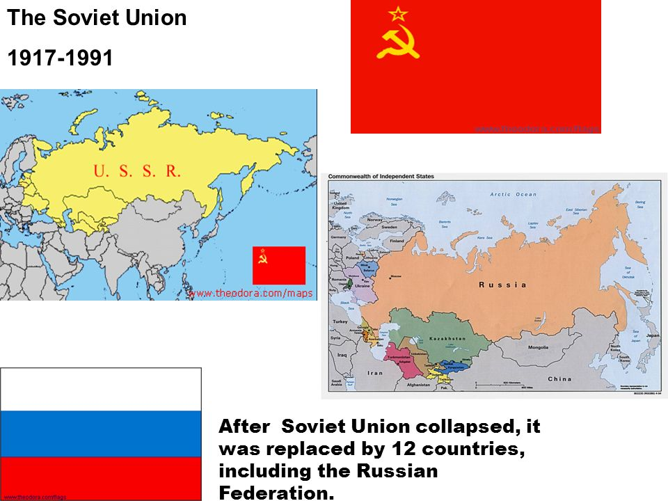The Soviet Union 1917-1991 After Soviet Union collapsed, it was replaced by 12 countries, including the Russian Federation.