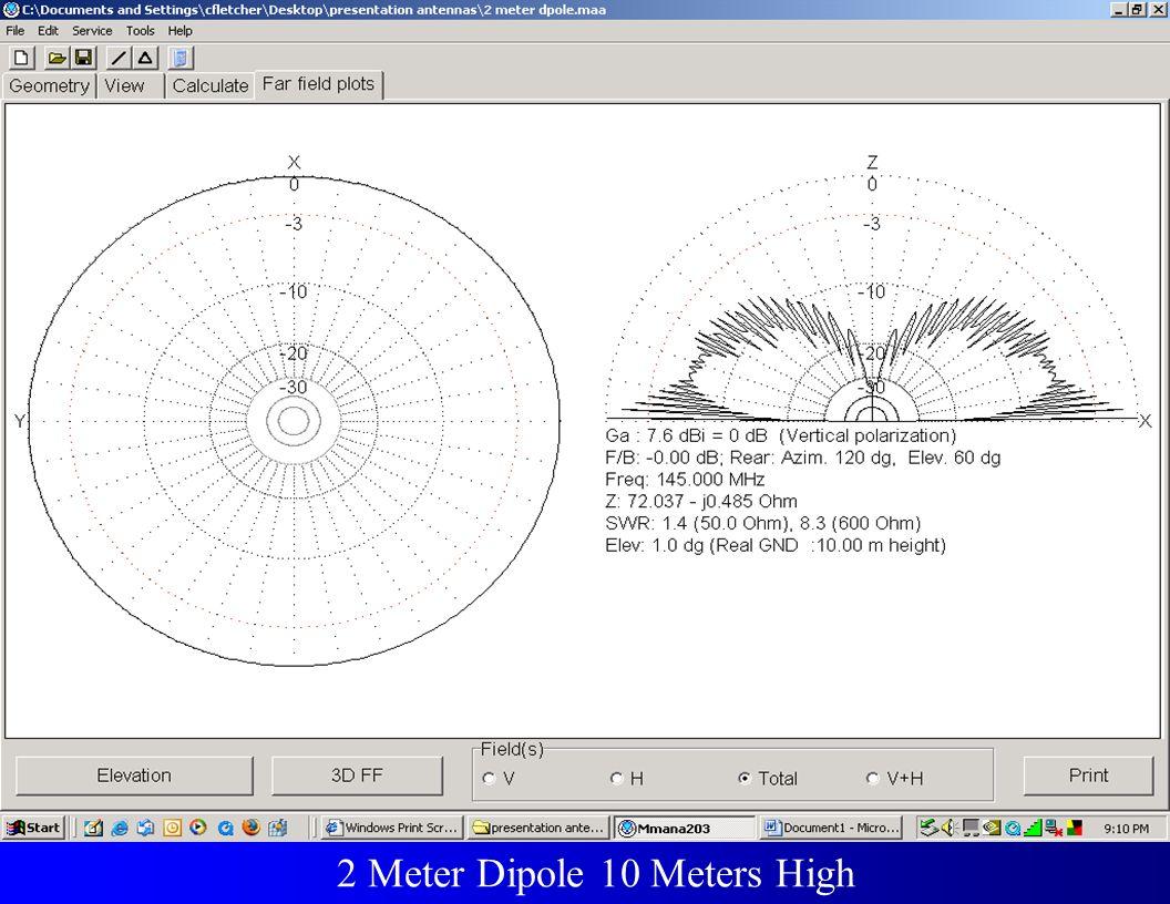 Fundamental and 2nd & 3rdHarmonic 2 Meter Dipole 10 Meters High