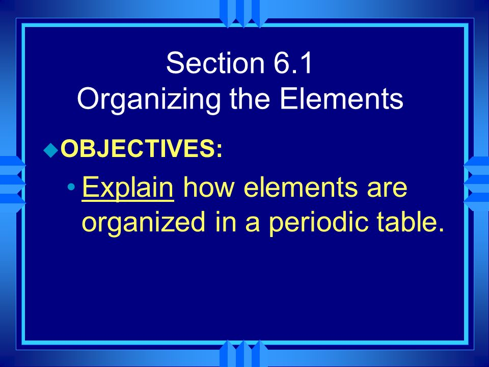 Areas of the periodic table u Three classes of elements are: 1) metals, 2) nonmetals, and 3) metalloids 1) Metals: electrical conductors, have luster, ductile, malleable 2) Nonmetals: generally brittle and non-lustrous, poor conductors of heat and electricity