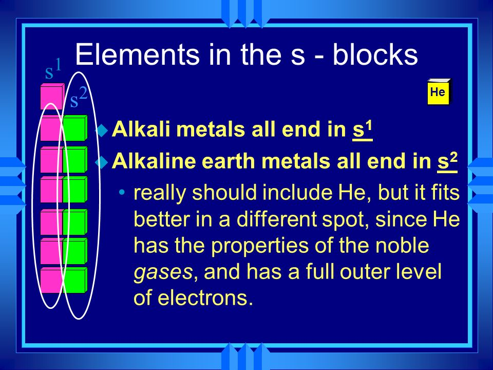 u Alkali metals all end in s 1 u Alkaline earth metals all end in s 2 really should include He, but it fits better in a different spot, since He has t