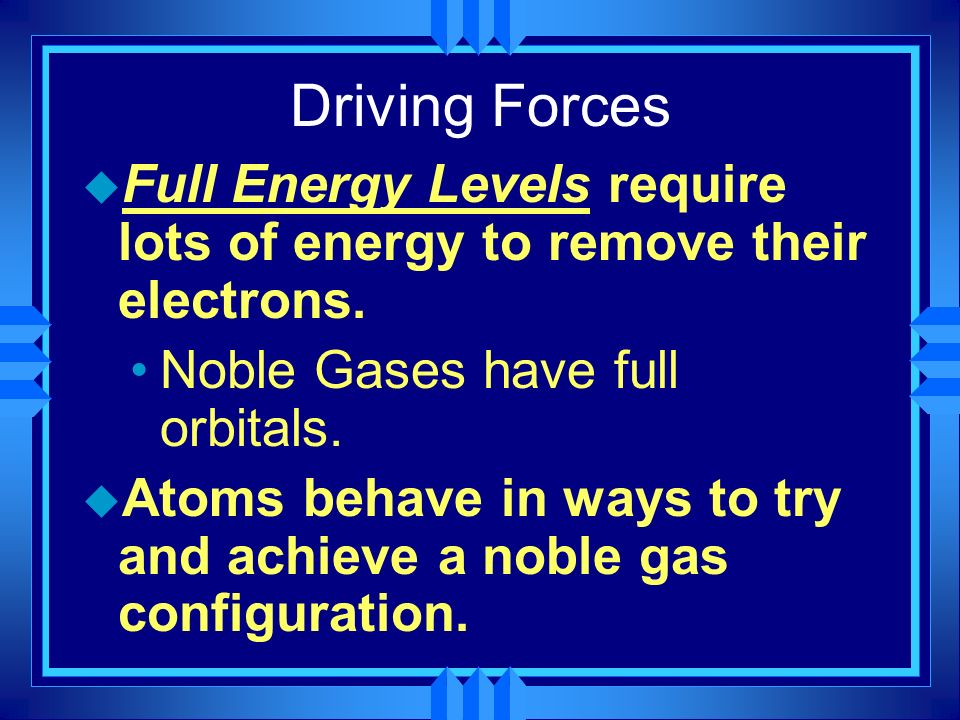 Driving Forces u Full Energy Levels require lots of energy to remove their electrons. Noble Gases have full orbitals. u Atoms behave in ways to try an