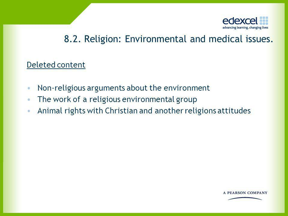 8.2. Religion: Environmental and medical issues. Deleted content Non-religious arguments about the environment The work of a religious environmental g