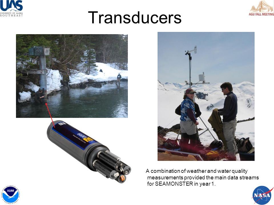 Transducers A combination of weather and water quality measurements provided the main data streams for SEAMONSTER in year 1.