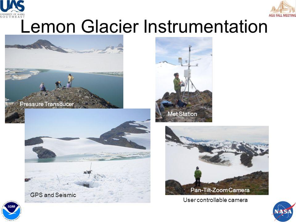 Lemon Creek Sensor Web Met Station, Web Cam, Comm Hub Lake Level, GPS, Geophone Met Station, Web Cam Water Qual, USGS Gauge Water Qual Communication between the nodes enables the Sensor Web.